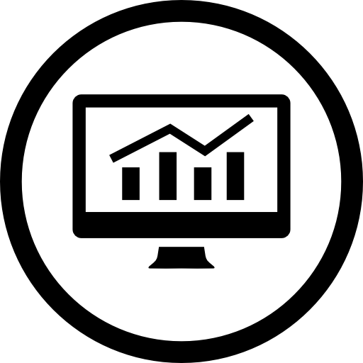 analytics bars graphic on a monitor screen