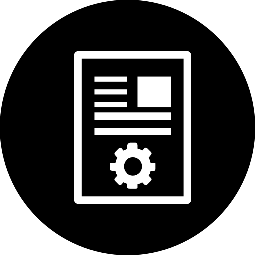 article marketing interface symbol in a black circle